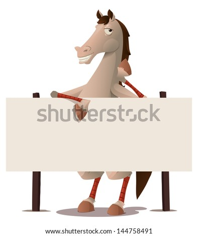 horse with blank sign board - stock vector