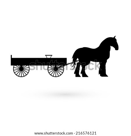 Horse with cart. Vector. - stock vector