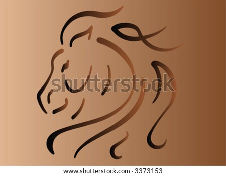 Horse with fancy mane - stock vector