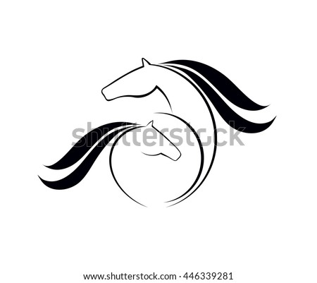 Horse with foal vector black on white background - stock vector