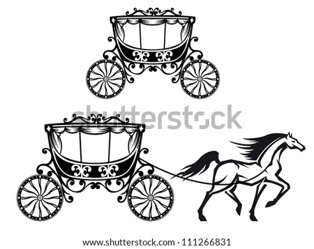 Horse with old carriage in retro style. Jpeg version also available in gallery - stock vector