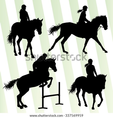 Horse with rider equestrian sport vector background concept set - stock vector