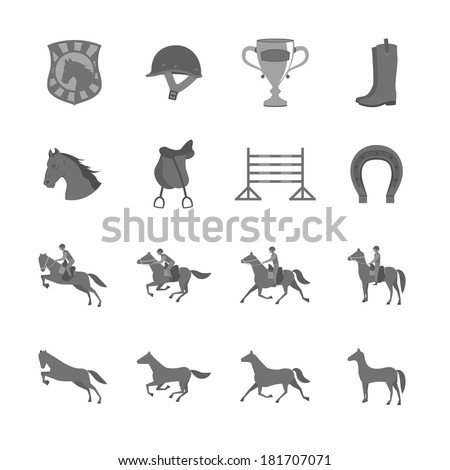 Horse with riders flat icons set of cup barrier saddle and horseshoe isolated vector illustration - stock vector