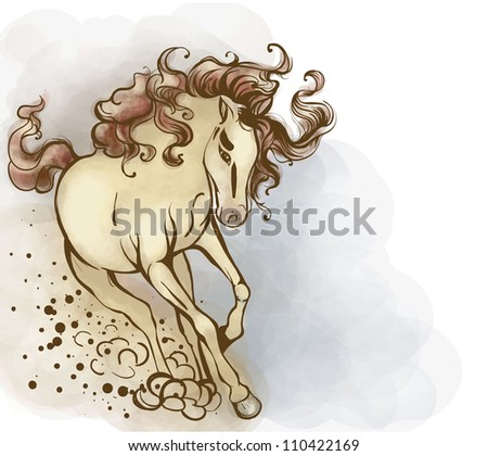 Horse yellowish, with a bright tail and mane. He runs to meet large. - stock vector