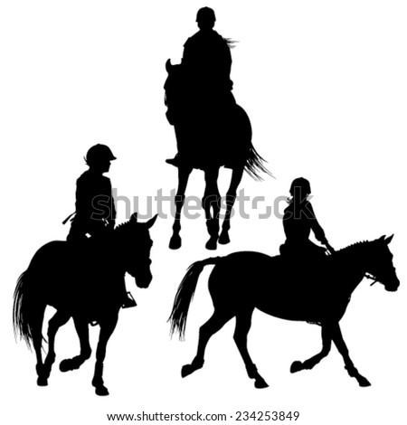 Horseback jockey silhouettes - stock vector