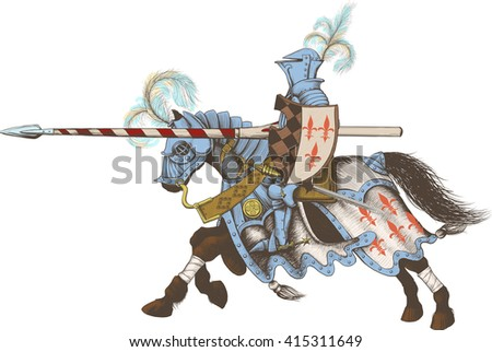 Horseback Knight of the tournament with a spear at the ready galloping towards the opponent - stock vector