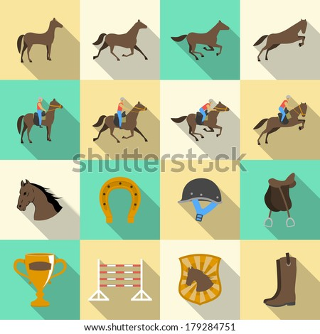 Horseback riding flat shadows icons set of horse rider sport dressage and horseshoe isolated vector illustration - stock vector