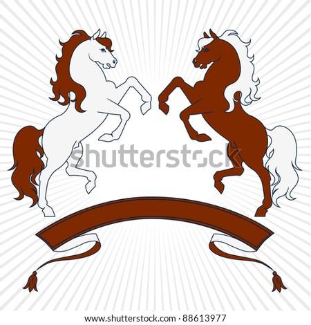 horses - stock vector