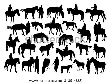 Horses and people silhouettes set - stock vector