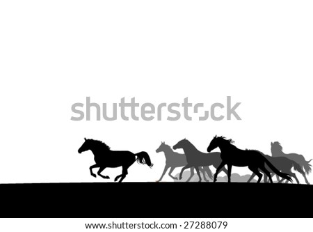 horses herd silhouettes. easy to edit - stock vector