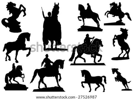 Horses in stone - stock vector
