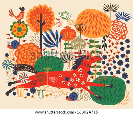 Horses on flower field - stock vector