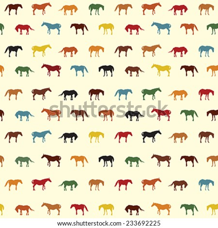 Horses seamless pattern in colors - stock vector