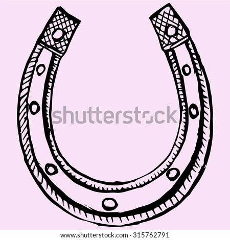 horseshoe, doodle style, sketch illustration - stock vector