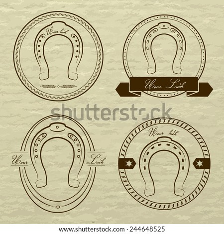 Horseshoe logos in different styles. With the inscription- your luck. - stock vector