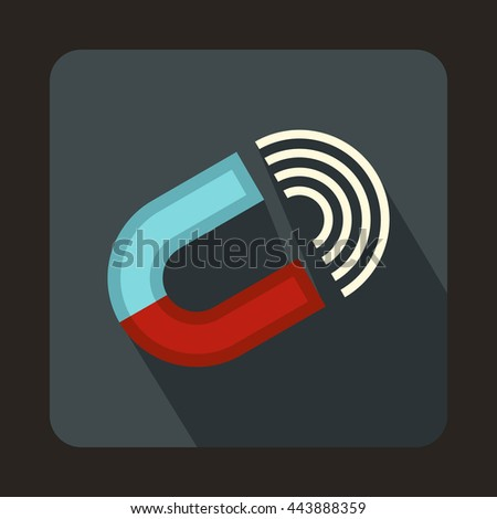 Horseshoe magnet icon in flat style on a gray background - stock vector