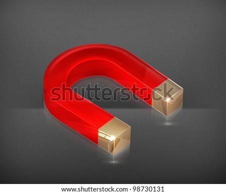 Horseshoe magnet, vector - stock vector