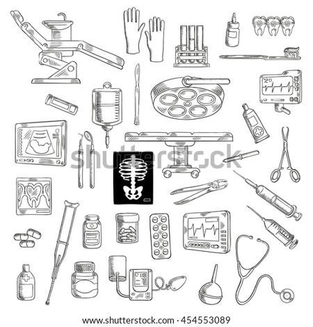 Hospital and clinic equipment. Syringe and stethoscope, medical scissors and pliers, pipette or dropper and ointment, radiograph and cardiogram, sphygmomanometer and crutch, ultrasound and toothbrush. - stock vector