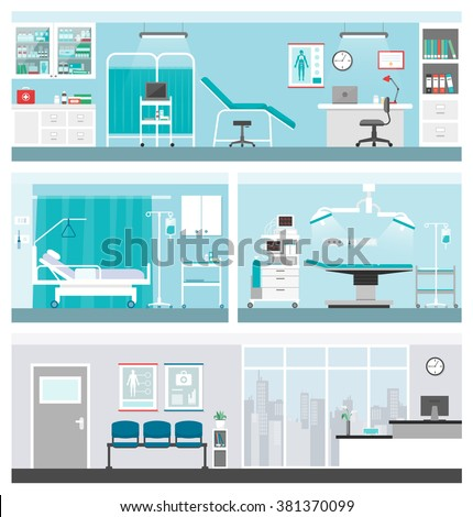 Hospital and healthcare banners set, doctor office, ward, surgery operating room, waiting room and reception - stock vector