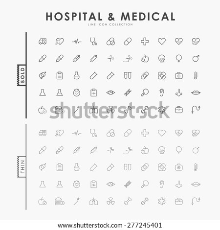 hospital and medical on bold and thin line icons concept - stock vector