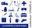 hospital and sick icon set eps10 - stock vector