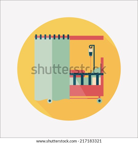 hospital bed flat icon with long shadow - stock vector