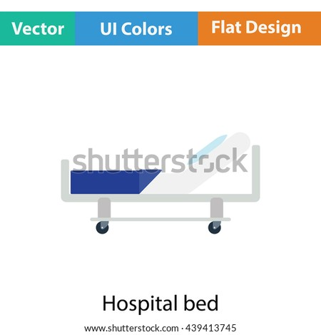 Hospital bed icon. Flat color design. Vector illustration.