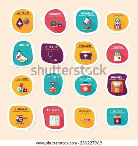 hospital bubble speech banner design flat background set, eps10