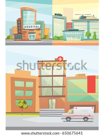 Hospital building cartoon modern illustration medical stock hospital building cartoon modern vector illustration medical clinic and city background emergency room exterior malvernweather Images