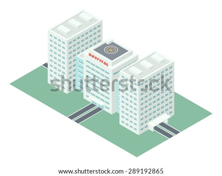 Hospital Building - Detailed Illustration in Isometric Projection Isolated on White Background - stock vector