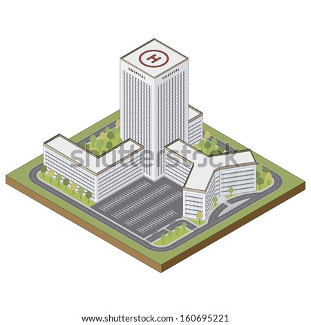 Hospital building highly detailed in isometric view isolated on white background editable vector file - stock vector