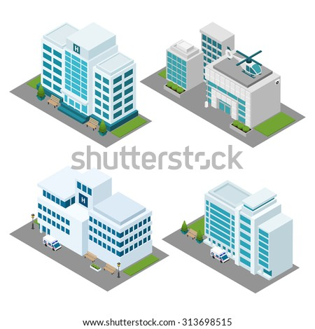 Hospital building isometric icons set with ambulance helicopter and lawn isolated vector illustration  - stock vector