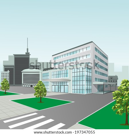 hospital building on a city street  with trees and road - stock vector