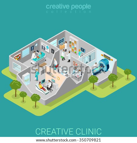 Hospital clinic interior rooms flat 3d isometry isometric medical concept web vector illustration. Traumatology MRI ultrasonography lab reception doctor nurse patient. Creative people collection. - stock vector