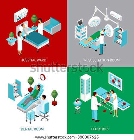 Hospital departments and resuscitation room with healthcare professional and patients 4 isometric icons square abstract vector  illustration - stock vector