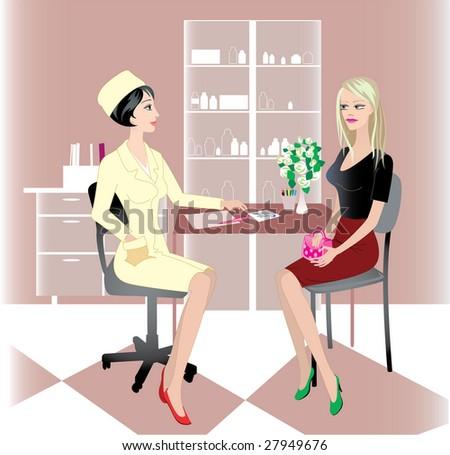 hospital doctor medicine patient medical girl - stock vector