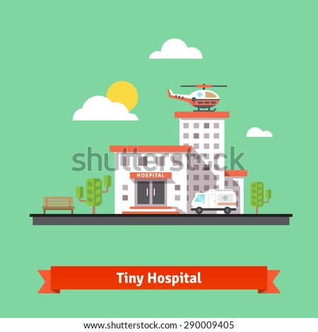 Hospital flat vector illustration. Clinic building with ambulance helicopter and car. Flat vector illustration. - stock vector