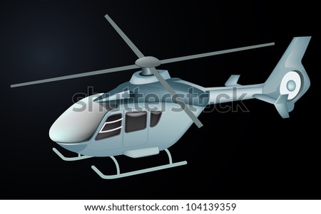 hospital helicopter isolated in black color