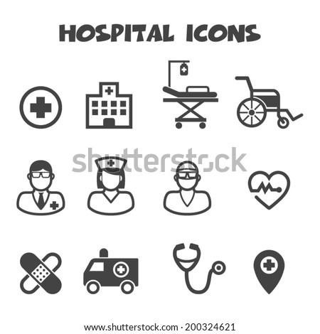 hospital icons, mono vector symbols - stock vector