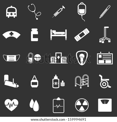 Hospital icons on black background, stock vector - stock vector