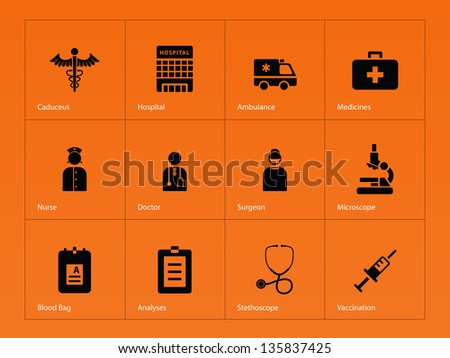 Hospital icons on orange background. Vector illustration. - stock vector