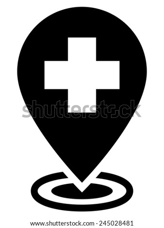Hospital map pointer icon - stock vector
