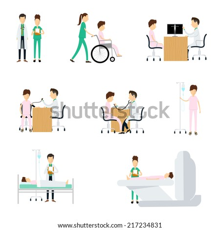 Hospital medical character Doctors diagnosis patients on white background - stock vector