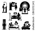Hospital Medical Checkup Screening Diagnosis Diagnostic Stick Figure Pictogram Icon Cliparts - stock vector