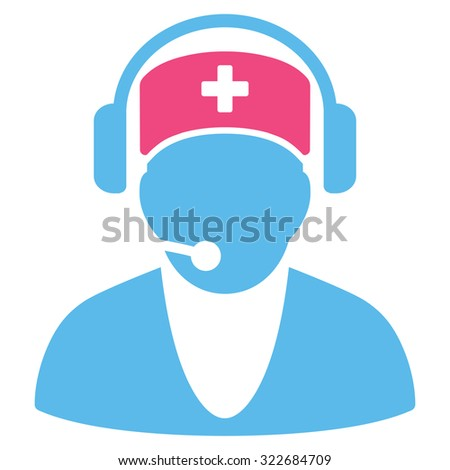Hospital Receptionist vector icon. Style is bicolor flat symbol, pink and blue colors, rounded angles, white background.