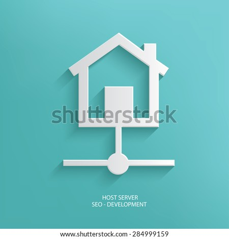 Host server design on blue background,clean vector - stock vector