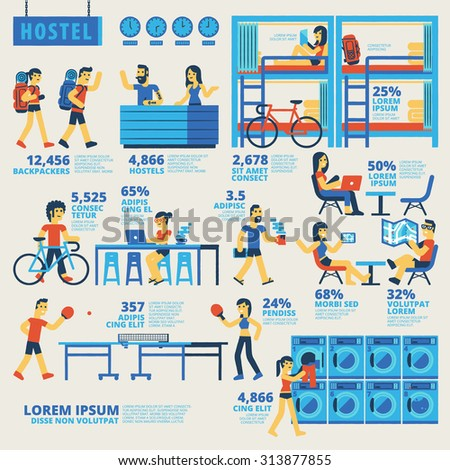 Hostel Infographics - stock vector