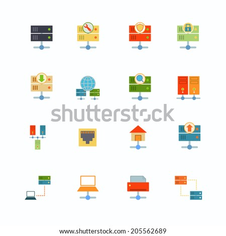 Hosting computer network flat icons set with file dashboard infrastructure elements isolated vector illustration - stock vector