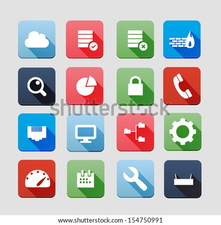 Hosting Icons - stock vector