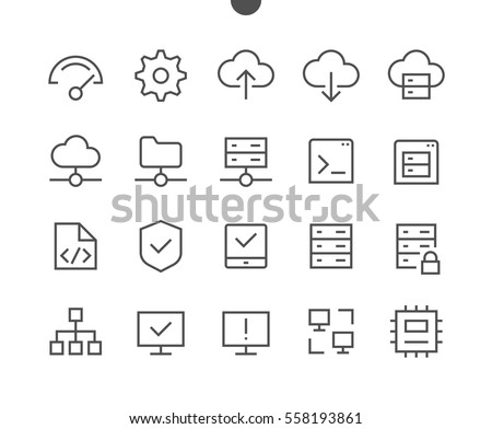 Hosting Pixel Perfect Well-crafted Vector Thin Line Icons 48x48 Ready for 24x24 Grid for Web Graphics and Apps with Editable Stroke. Simple Minimal Pictogram Part 1-1
